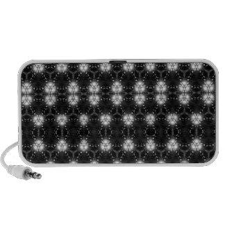 Black and white kaleidoscope patterned speaker