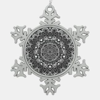 Black and White kaleidoscope Snowflake Pewter Christmas Ornament