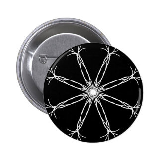Black and White Kaleidoscope Star Pinback Button