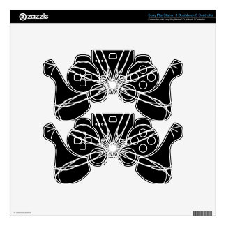 Black and White Kaleidoscope Star PS3 Controller Decals