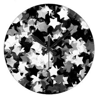 Black and White Kawaii Stars Background Large Clock