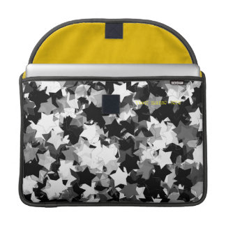 Black and White Kawaii Stars Background Sleeves For MacBook Pro
