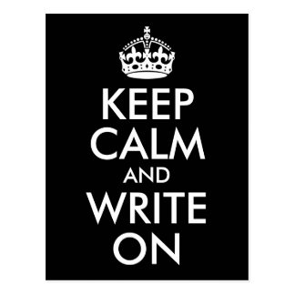 Black and White Keep Calm and Write On Postcard