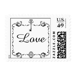 Black and White Key Postage Stamp