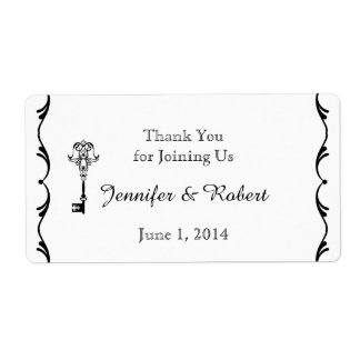 Black and White Key Water Bottle Label Shipping Label