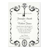 Black and White Key Wedding Invitation