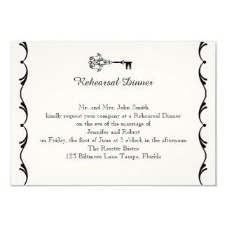 Black and White Key Wedding Rehearsal Card