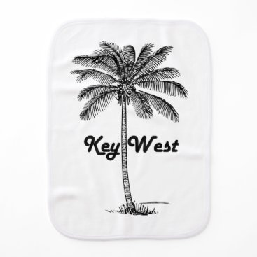 USA Themed Black and White Key West Florida & Palm design Baby Burp Cloth