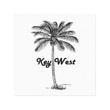 USA Themed Black and White Key West Florida & Palm design Canvas Print