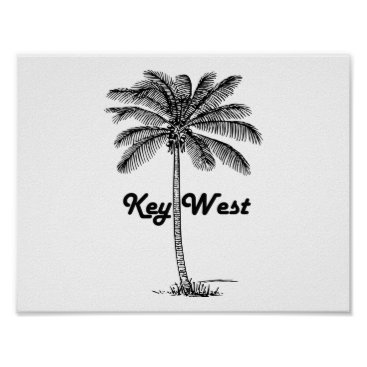 USA Themed Black and White Key West Florida & Palm design Poster