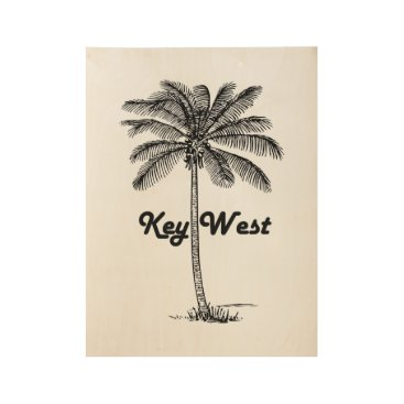 USA Themed Black and White Key West Florida & Palm design Wood Poster