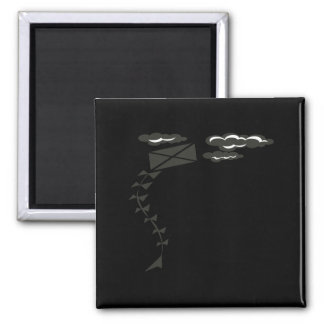 Black And White Kite 2 Inch Square Magnet