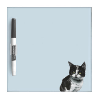 Black and White Kitten Drawing Dry-Erase Board