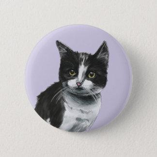Black and White Kitten Drawing Pinback Button