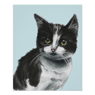 Black and White Kitten Drawing Poster