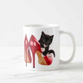 Black and White Kitten in Red Shoe Classic White Coffee Mug