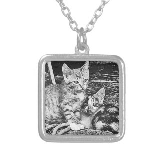 Black and White Kittens Necklaces