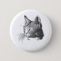 Black and White Kitty Cat Button