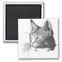 Black and White Kitty Cat Magnet