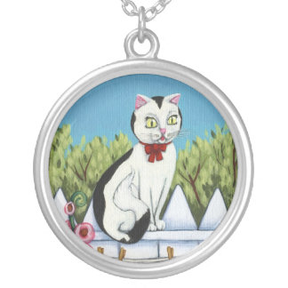 Black And White Kitty Cat Necklace