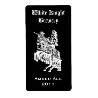 Black and White Knight Home Made Beer Label Shipping Label