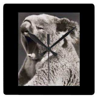 Black and White Koala Bear Photo Square Wall Clock