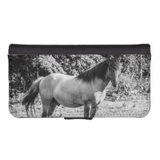 Black and White Konik Horse Phone Wallet