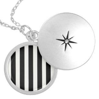 Black and White Lace Cap Cabana Stripe Pattern Round Locket Necklace