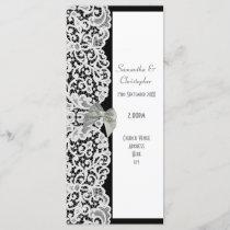 Black and white lace church wedding program