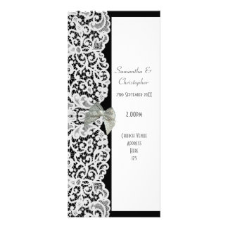 Black and white lace church wedding program