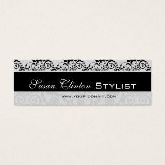 Black and White Lace   Damask Mini Business Card
