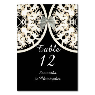 Black and white lace filigree damask wedding card
