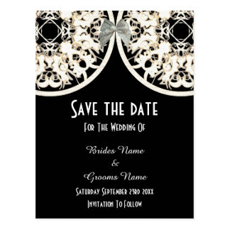 Black and white lace filigree  save the date postcard
