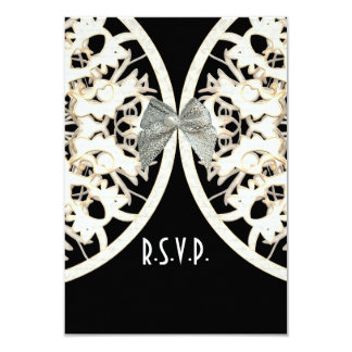 Black and white lace filigree wedding R.S.V.P 3.5x5 Paper Invitation Card