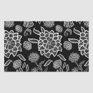 Black and White Lace Floral Rectangular Sticker