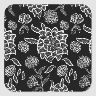 Black and White Lace Floral Square Sticker