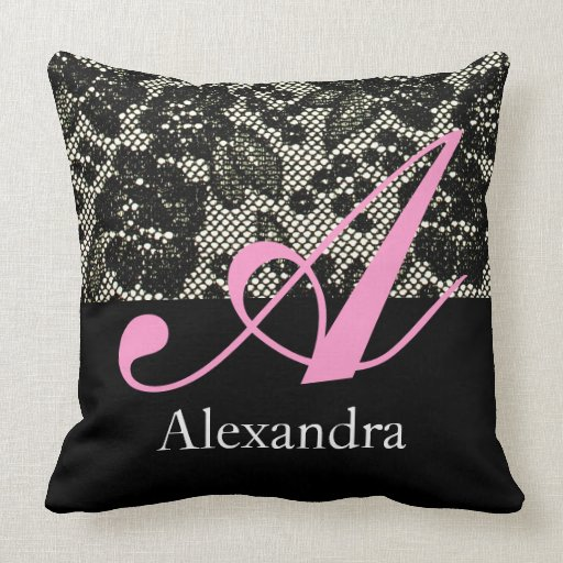 Black and White Lace Monogram Pillow Letter A from Zazzle.