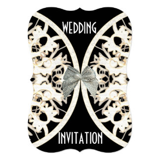 Black and white lace paper cut damask wedding card