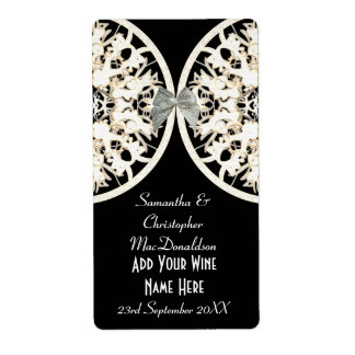 Black and white lace paper cut wedding wine bottle label