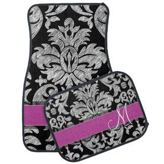 Black and White Lace Pattern Custom Monogram Car Floor Mat