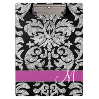 Black and White Lace Pattern Custom Monogram Clipboards