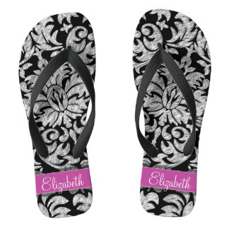 Black and White Lace Pattern Custom Monogram Flip Flops