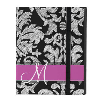 Black and White Lace Pattern Custom Monogram iPad Folio Cases