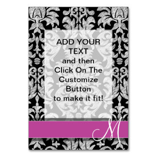 Black and White Lace Pattern Custom Monogram Table Card