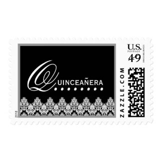 Black and White Lace Quinceanera Postage