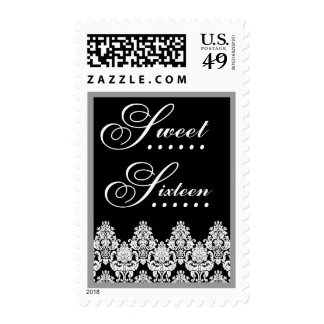 Black and White Lace Sweet Sixteen Postage