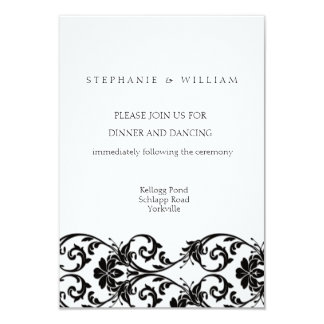 Black and White Lace Wedding Reception Card