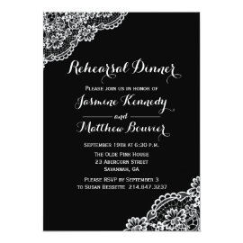 Black And White Lace Wedding Rehearsal Dinner Card