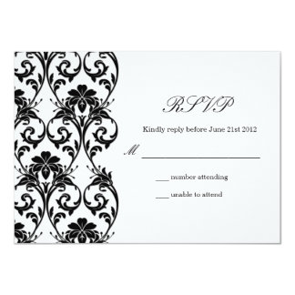 Black and White Lace Wedding RSVP Card