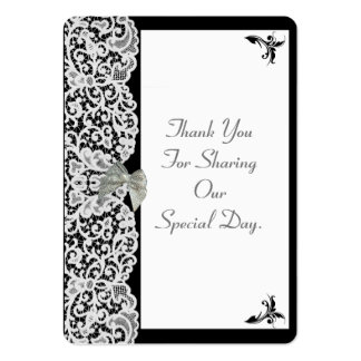 Black and white lace wedding thank you tag large business cards (Pack of 100)